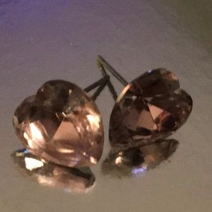 Pink crystal diamond cut earrings Betsey Johnson